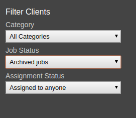 Screenshot of options for filtering clients