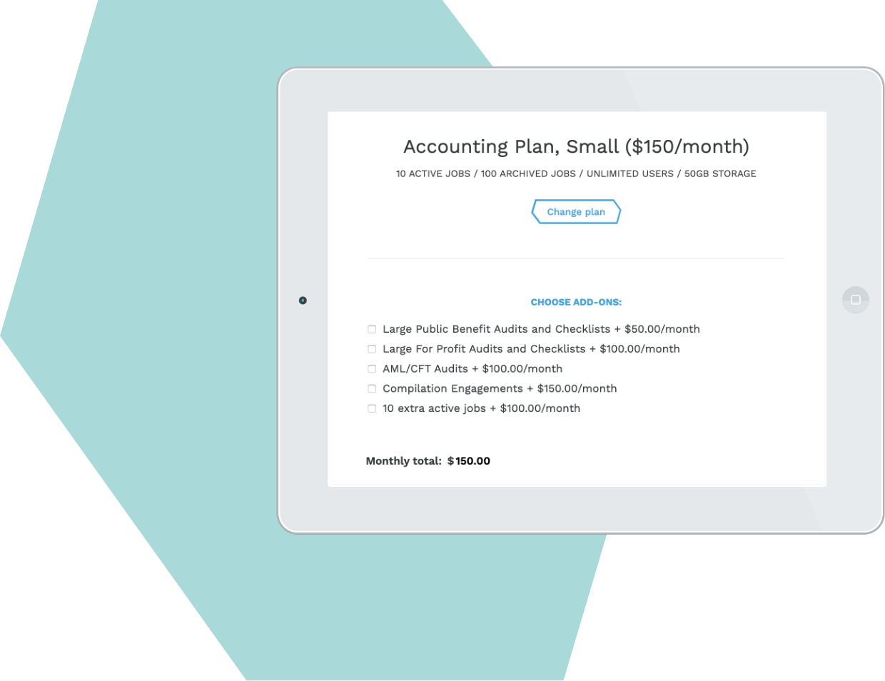 Screenshot for Pricing levels and features to suit your firm size and client type